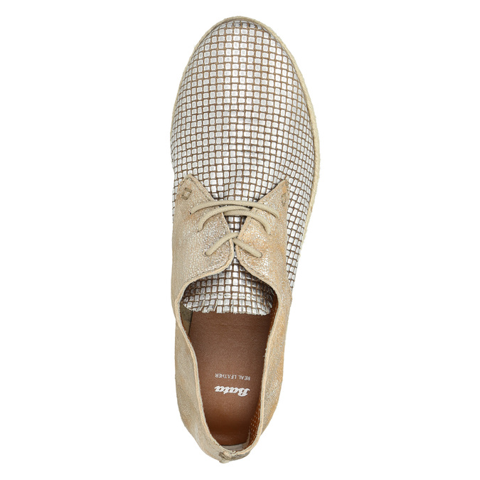 Dámske kožené poltopánky bata, béžová, 526-8629 - 19