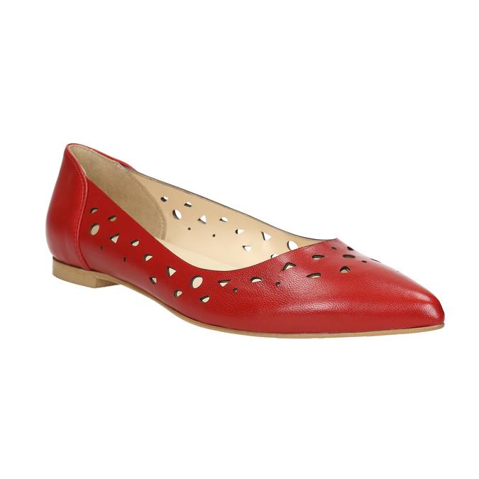 Červené kožené baleríny bata, červená, 524-5604 - 13