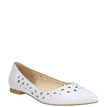 Biele kožené baleríny bata, biela, 524-1604 - 13