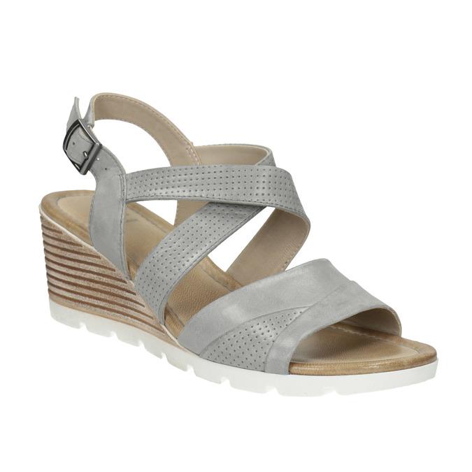 Kožené sandále na kline s perforáciou bata, šedá, 666-2606 - 13