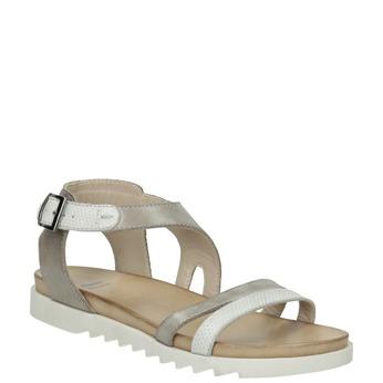 Kožené sandále na výraznej podrážke bata, šedá, 566-2606 - 13