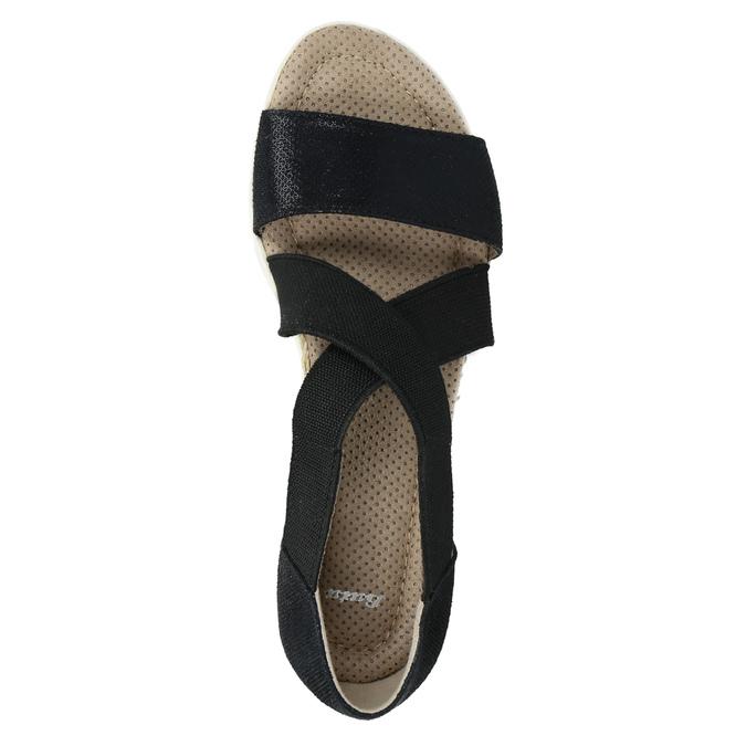 Sandále s pružnými remienkami bata, čierna, 661-6607 - 19