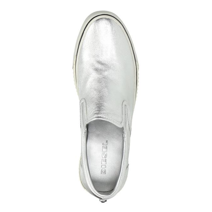 Kožená strieborná Slip-on obuv diesel, strieborná, 504-1437 - 19