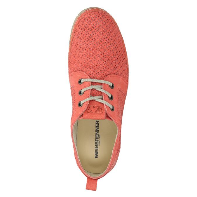 Dámske kožené poltopánky červené weinbrenner, oranžová, 526-5636 - 19
