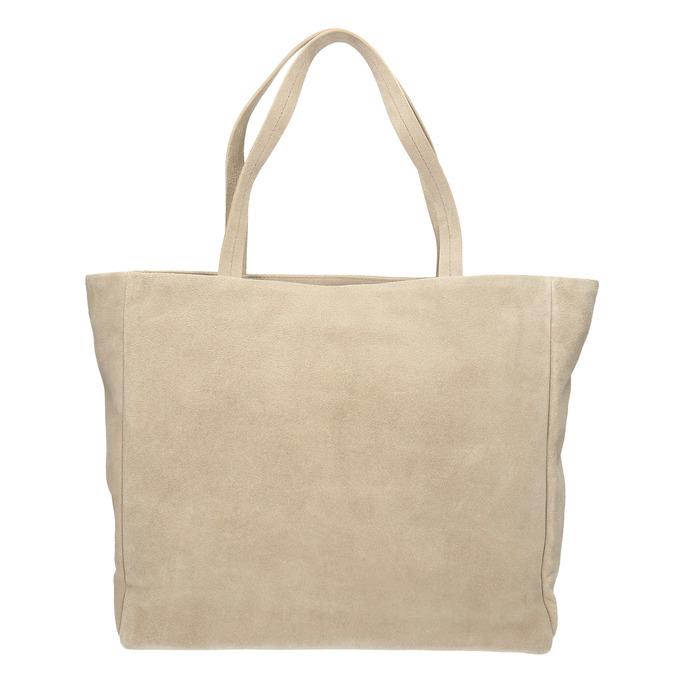 Kožená kabelka s vreckom bata, béžová, 963-8191 - 19