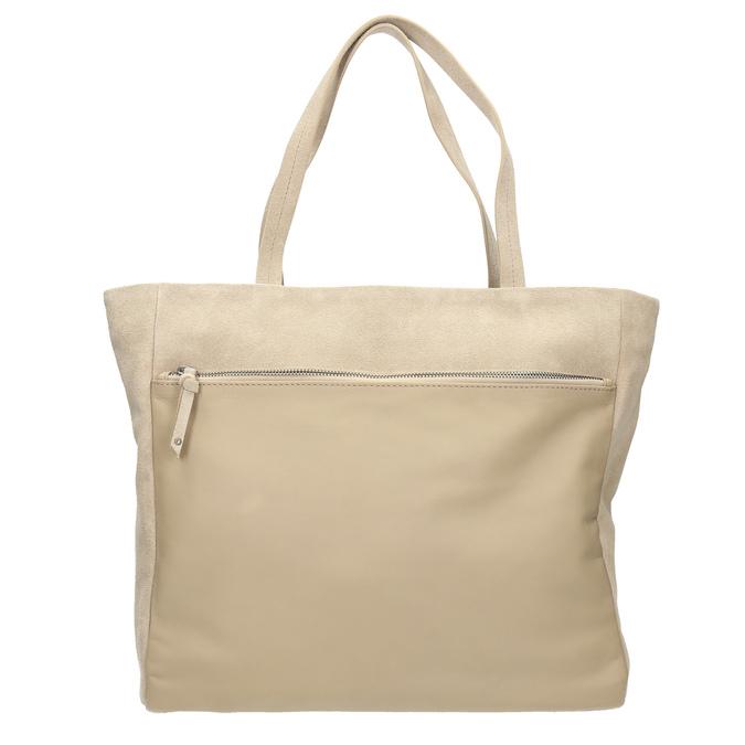 Kožená kabelka s vreckom bata, béžová, 963-8191 - 26