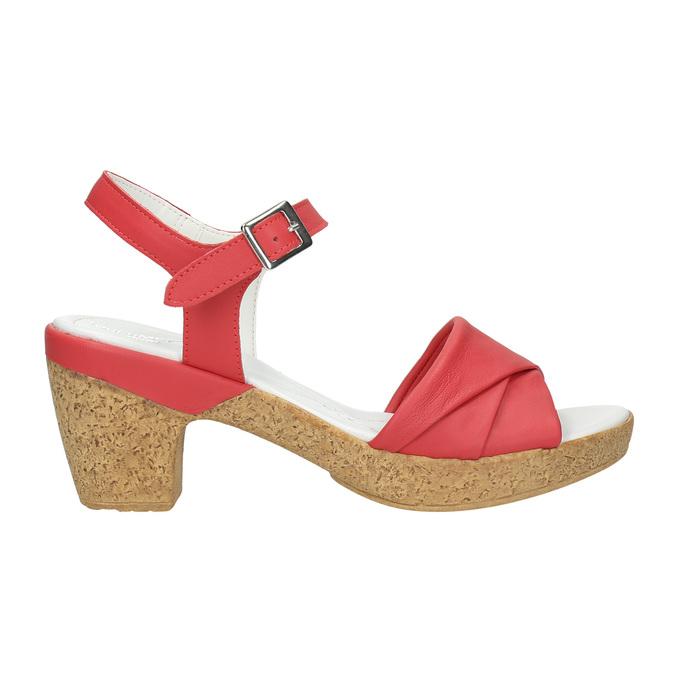 Kožené sandále na nízkom podpätku bata-touch-me, červená, 666-5203 - 15
