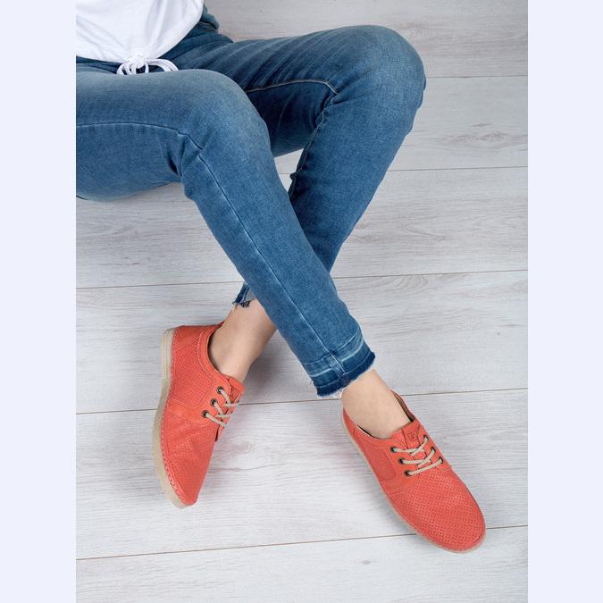 Dámske kožené poltopánky červené weinbrenner, oranžová, 526-5636 - 18