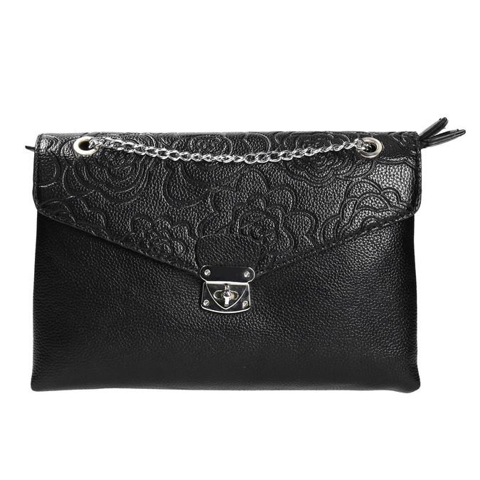 Menšia čierna kabelka s klopou bata, čierna, 961-6731 - 26