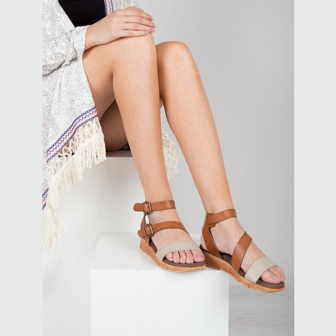 Kožené sandále na výraznej podrážke weinbrenner, hnedá, 566-4627 - 18