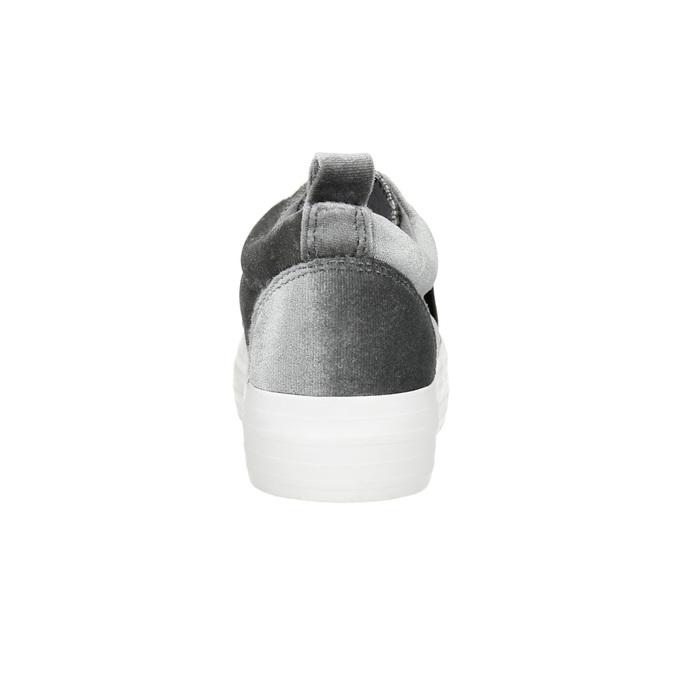 Dámske zamatové Slip-on na flatforme north-star, šedá, 519-2604 - 17