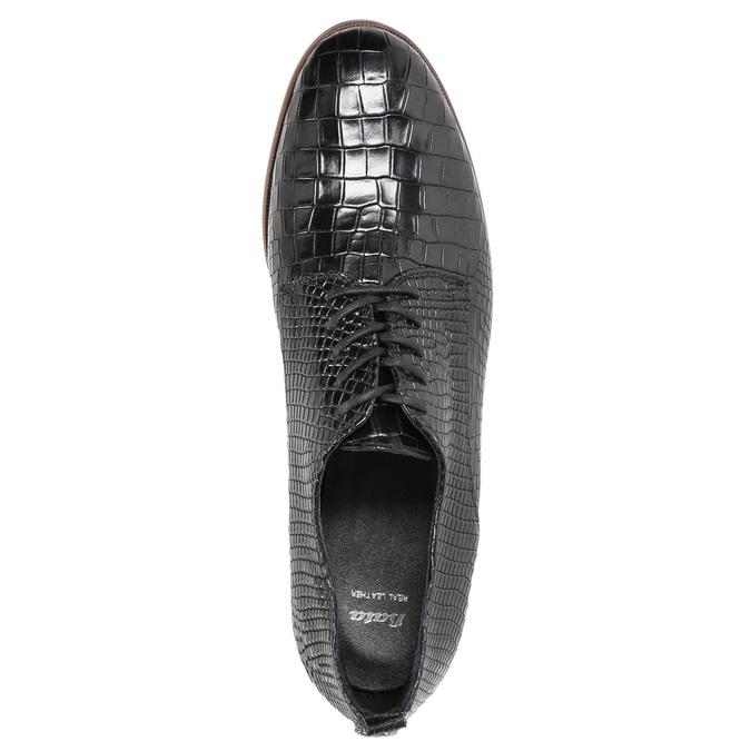 Dámske kožené poltopánky so štruktúrou bata, čierna, 526-6637 - 19