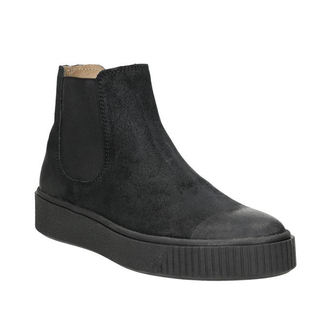 Dámska kožená členková obuv bata, čierna, 596-6671 - 13