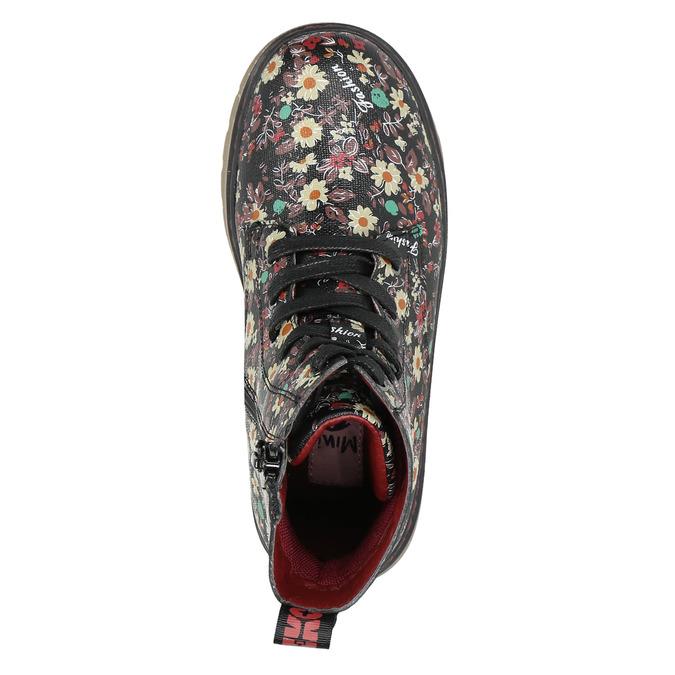 Dievčenská obuv s kvetovaným vzorom bata-girl, čierna, 321-6609 - 26