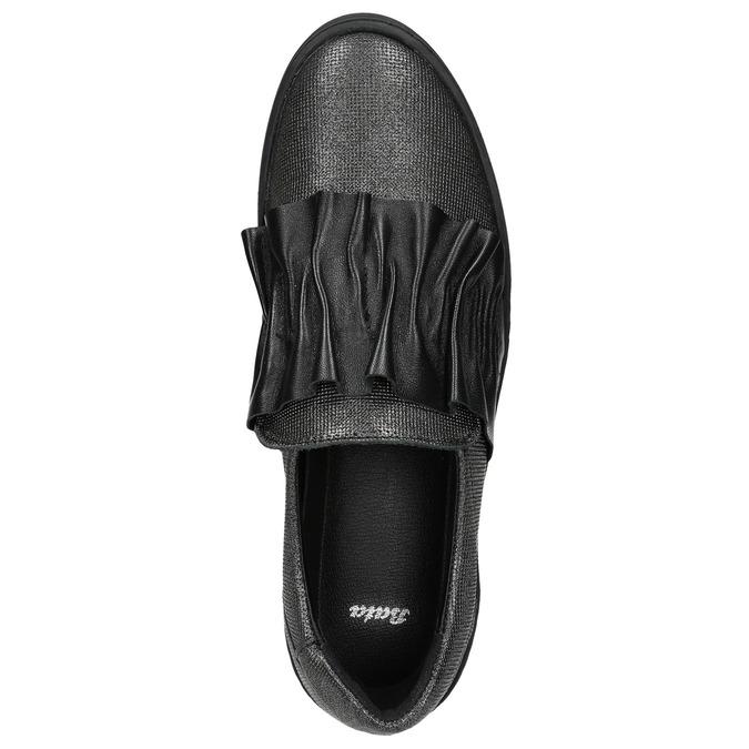Dámske kožené Slip-on bata, čierna, 516-6614 - 26