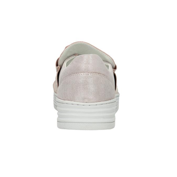 Kožené dámske Slip-on bata, ružová, 516-5614 - 17
