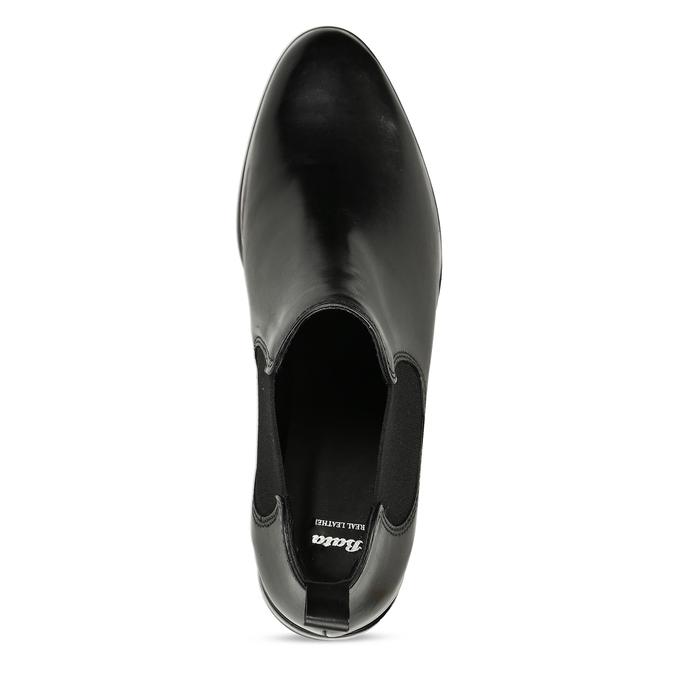 Čierna kožená obuv v Chelsea štýle bata, čierna, 594-6635 - 17