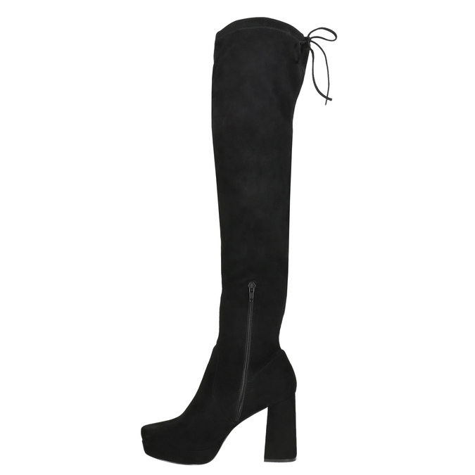 Čierne dámske čižmy nad kolená bata, čierna, 799-6663 - 26