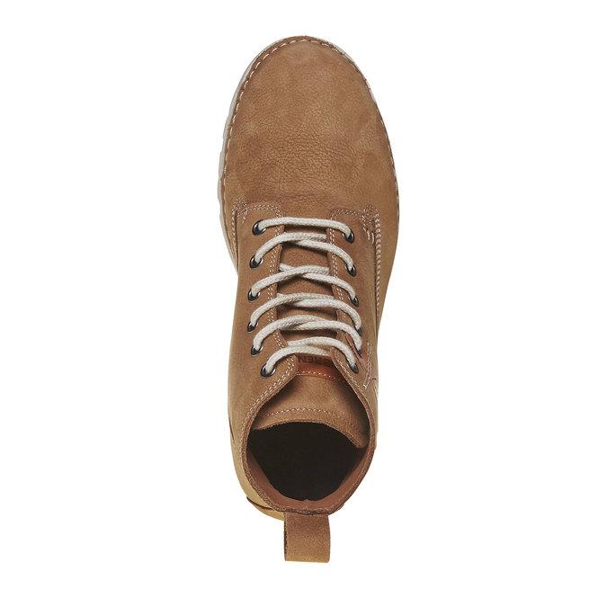 Kožená kotnikova obuv na šněrování weinbrenner, hnedá, 594-8323 - 19