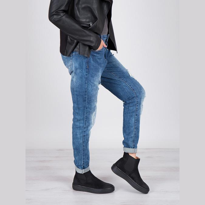 Dámska kožená členková obuv bata, čierna, 596-6671 - 19