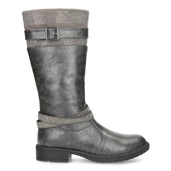 Dievčenské čižmy s kamienkami mini-b, šedá, 391-2655 - 19