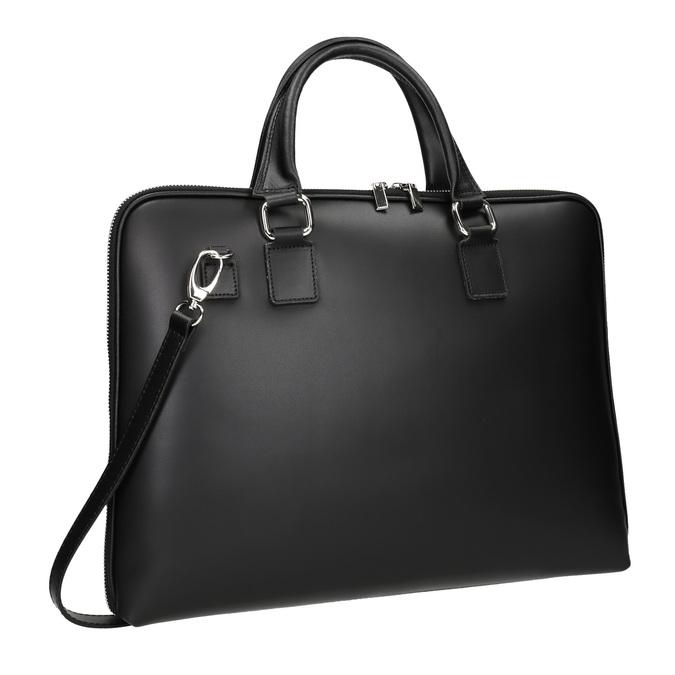 Kožená taška s odnímateľným popruhom bata, čierna, 964-6223 - 13