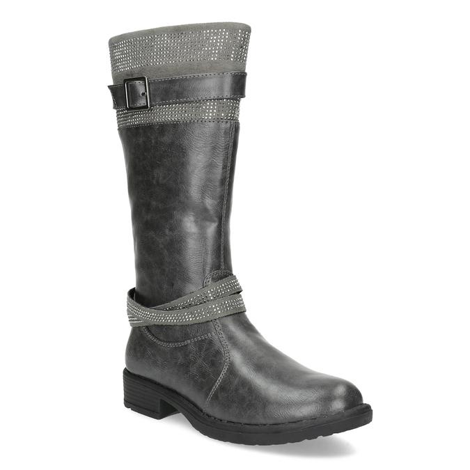 Dievčenské čižmy s kamienkami mini-b, šedá, 391-2655 - 13