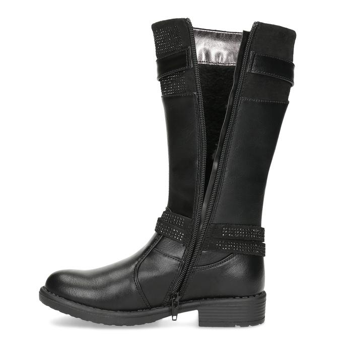 Čierne dievčenské čižmy mini-b, čierna, 391-6655 - 17