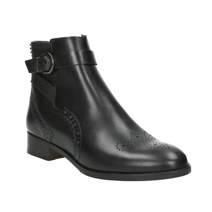 Kožená členková obuv so zdobením clarks, čierna, 614-6027 - 13