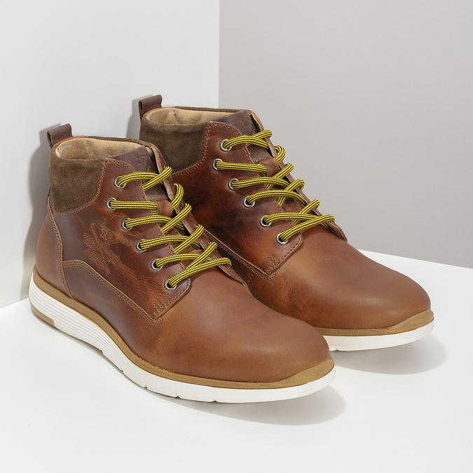 Kožená pánska členková obuv bata, hnedá, 846-3645 - 26