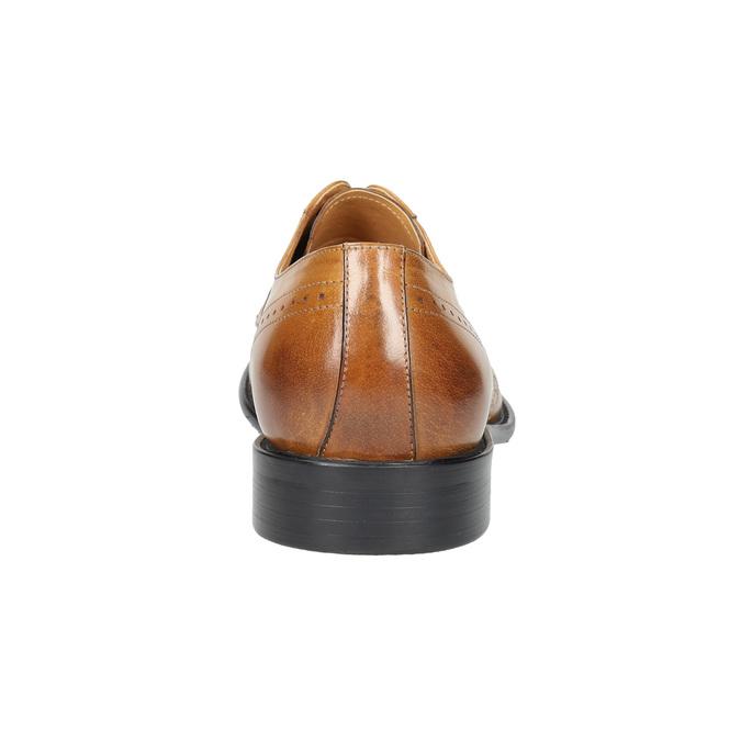 Kožené pánske poltopánky s Brogue zdobením bata, hnedá, 824-3227 - 17