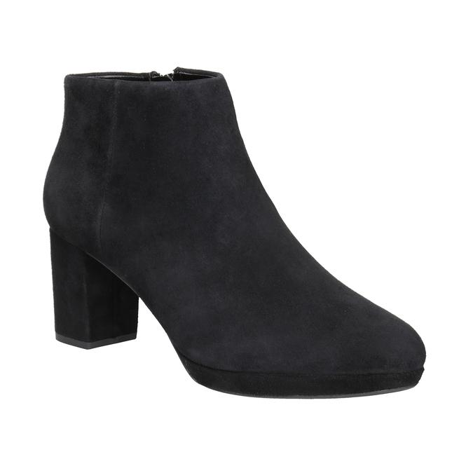 Kožená členková obuv na podpätku clarks, čierna, 713-6035 - 13