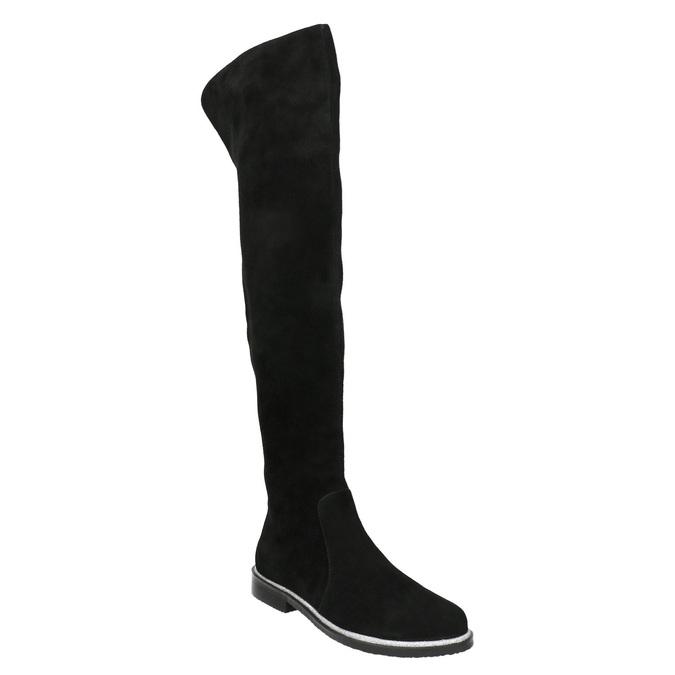 Čižmy nad kolená z brúsenej kože bata, čierna, 593-6605 - 13