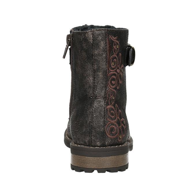 Detská zimná obuv s výšivkou mini-b, hnedá, 391-8654 - 17