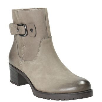 Kožené členkové čižmy s prackou bata, šedá, 696-2621 - 13