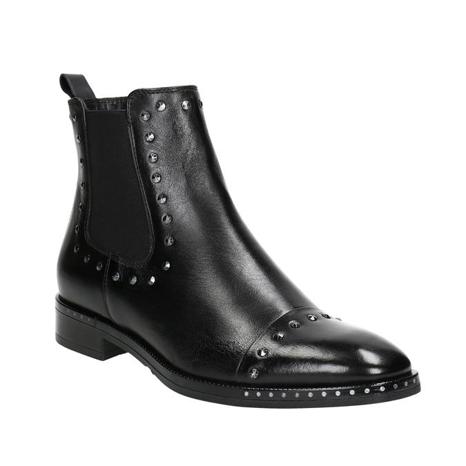 Dámske kožené Chelsea s cvokmi bata, čierna, 596-6679 - 13