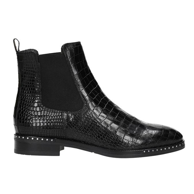 Kožená dámska Chelsea obuv so štruktúrou bata, čierna, 596-6678 - 15