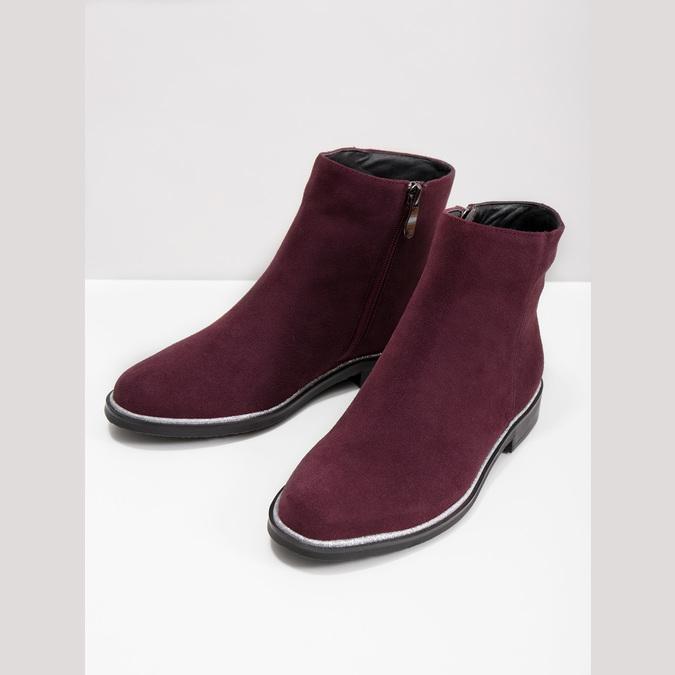 Členková obuv z brúsenej kože bata, červená, 593-5603 - 18