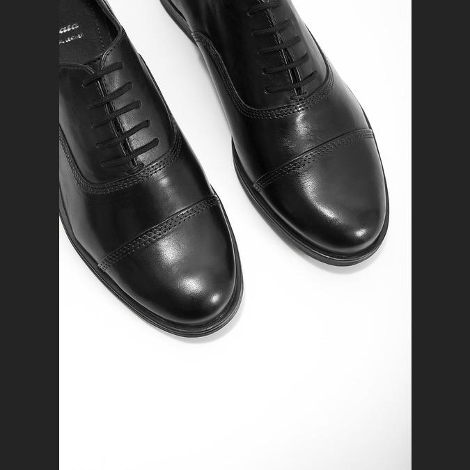 Dámske kožené poltopánky s prešívaním bata, čierna, 524-6661 - 14