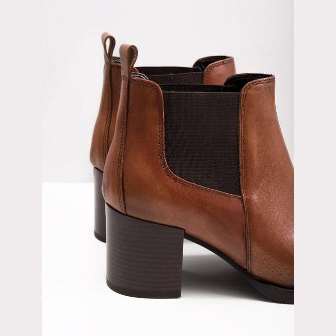Členková kožená obuv na podpätku bata, hnedá, 694-4641 - 18