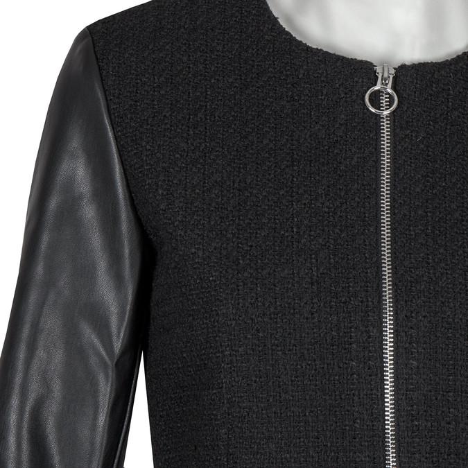 Dámsky kabát s koženkovými rukávmi bata, čierna, 979-6153 - 16