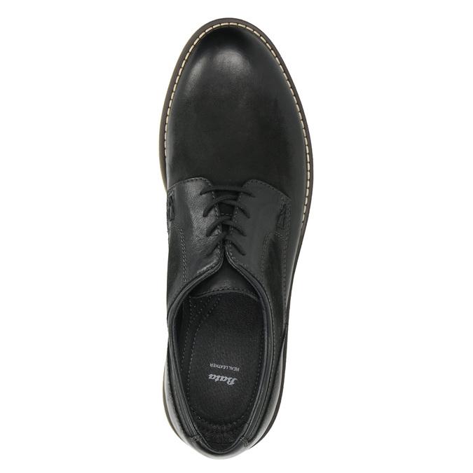 Pánske kožené Derby poltopánky bata, čierna, 826-6620 - 26