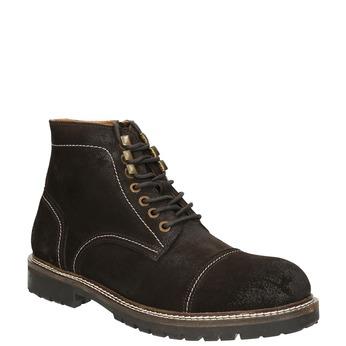 Pánska kožená obuv s prešitím bata, hnedá, 893-4653 - 13