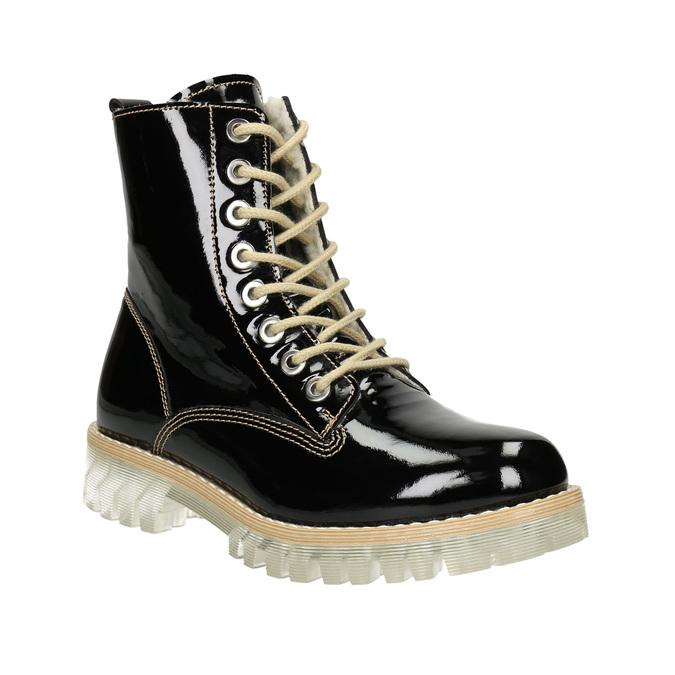 Lakovaná členková obuv s masivnou podrážkou weinbrenner, čierna, 598-6604 - 13