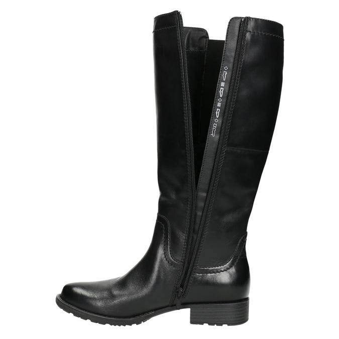 Kožené čižmy s elastickým remienkom bata, čierna, 596-6655 - 26