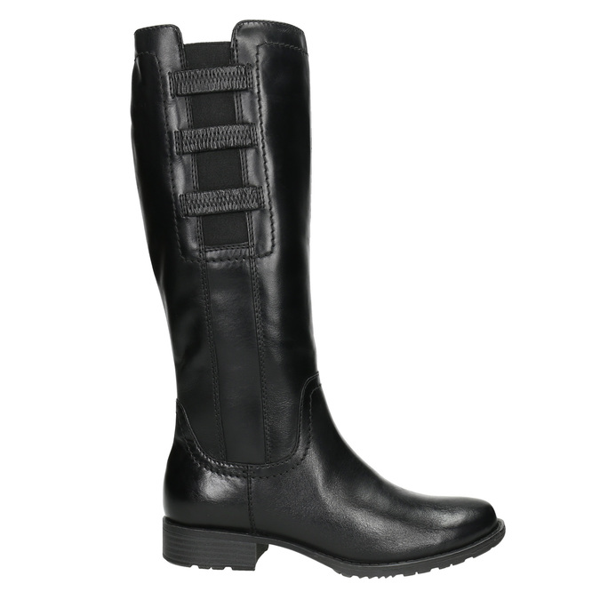 Kožené čižmy s elastickým remienkom bata, čierna, 596-6655 - 15