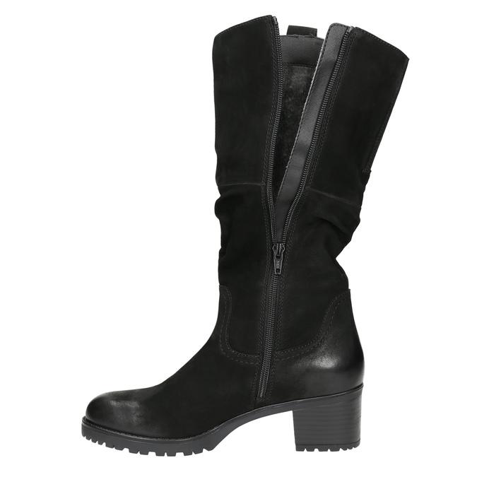 Kožené dámske čižmy bata, čierna, 696-6649 - 26