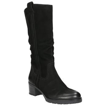 Kožené dámske čižmy bata, čierna, 696-6649 - 13