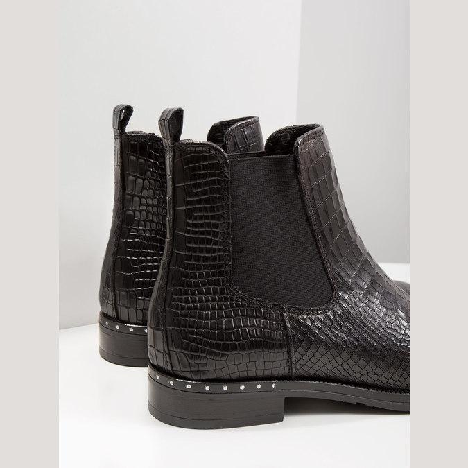 Kožená dámska Chelsea obuv so štruktúrou bata, čierna, 596-6678 - 14