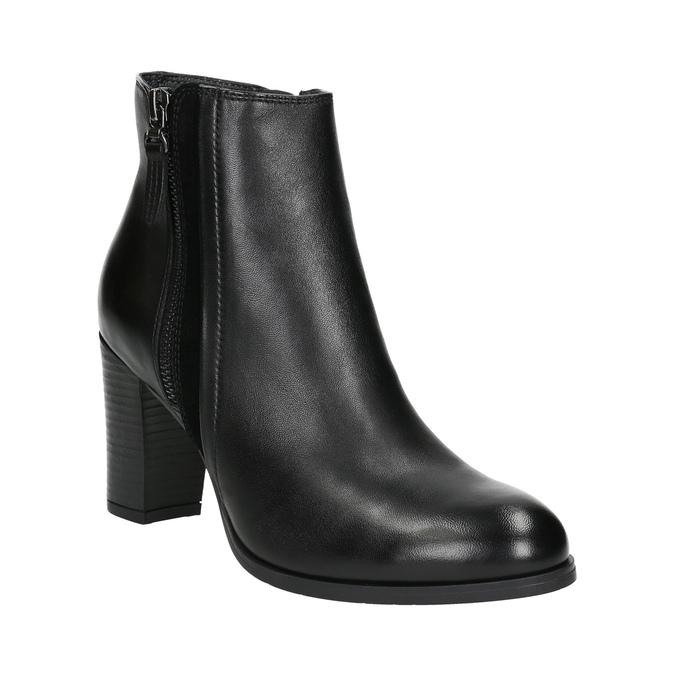Kožené členkové topánky na podpätku bata, čierna, 794-6642 - 13